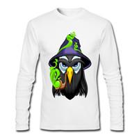 Wholesale Long Sleeve Owl Shirt - Fashion Adult 100 Cotton Long Tee-Shirt Round Neck Wizard Owl Men's Grey White Long Sleeve Tees Shirt Extra large Size Geek Long Tee-Shirt