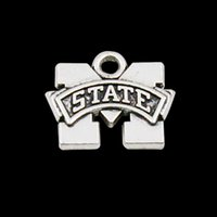 Wholesale Antique Bulldog - Antique Silver Plating Alloy Mississippi State Bulldogs Logo Charms NCAA Team Pendant Charms 15*17mm AAC1043