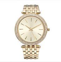 relojes de oro de calidad al por mayor-2017 Elegante Nueva Alta Calidad de Lujo Cristal Diamante Relojes Mujeres Reloj de Oro Tira de Acero Rosa Oro Sparkling Vestido Reloj de pulsera Nave de Gota