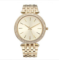Wholesale Strip Women - 2017 Elegant New High Quality Luxury Crystal Diamond Watches Women Gold Watch Steel Strip Rose Gold Sparkling Dress Wristwatch Drop Ship