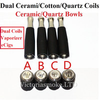 Wholesale Ecigs Tanks - Hot Sale Dual coil 510 skillet wax atomizer double coil skillet quartz Coil atomizer Herbal Wax Tank Metal Drip Tip for eCigs Vaporizer
