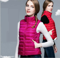 Wholesale Down Vest Coat - Women Down Vest Ultra-light Sport White Duck Down Waistcoat Fashion Sleeveless Coats Slim Portable Stand Collar Autumn Winter 2016 New