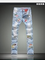Wholesale Hot Clothing Designers - Hot Sale New 2016 Men Designer Jeans Denim Ripped Jeans Fashion Skinny Jeans Casual Mens Brand Clothing Warm Jeans