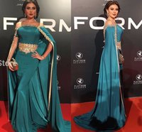 Wholesale Peacock Pictures - Peacock Off Shoulder Evening Dress Long with Cloak Gold Beads 2016 New Arrival African Formal Dresses Kaftan Celebrity Gowns