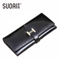 Wholesale Passport Holder Blue - Wholesale- SUOAI 2017 High Quality Genuine Leather Wallets Women Long Purse Vintage Alligator Genuine Leather Wallet