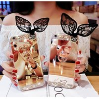 Wholesale Ear Dirt - for iphone 5s 6 6s 7 8 plus X Luxury Pretty Cute Korea Fashion Bear finger ring buckle diamond ear soft mirror case