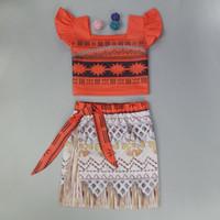 Wholesale Girls Summer Beach Sets - Moana Dresses Cosplay Costume Summer Sets Baby Girls Printed Dress Kids Movies Moana Princess Dress Outfits