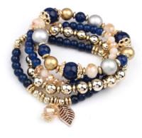 Wholesale Food Gold Leaf - Fashion Charm Multicolor Long Beads Bracelets For Women Leaf Crystal Bracelets&Bangles Pulseras 1B195 Cheap beaded bracelet with charm