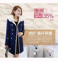 Wholesale Ladies Pink Wool Coats - With Fur Collar New Elegant Spring Autumn Women Fashion Woolen Coats Ladies Long Slim Casual Windbreakers Jackets Overcoat