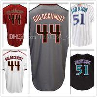 Wholesale Black Paul Goldschmidt Jersey - Men's 44 Paul Goldschmidt 51 Randy Johnson Baseball Jersey Paul Goldschmidt Randy Johnson Jerseys Embroidery and 100% Stitched