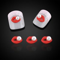 Wholesale 3d Nails Art Lip - Wholesale- 10pcs bag Sexy Red Lip Design Nail Art Decorations Pearl Acrylic 3d Nail Jewelry Charms For Nails Tools Free Shipping