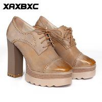A062 Retro British Style Leather Brogues Oxfords Plate-forme Lace Up Talons hauts Femmes Chaussures Thick Heel Handmade Casual Lady Shoes