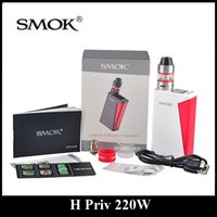 Tops De Barra De Metal Baratos-Auténtico SMOK H-Priv 220W Mod y Starter Kit con Micro TFV4 Basic Tank Top Llenado y Pantalla Superior Innovative Fire Bar