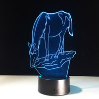 Wholesale Led Horse Night Light - 2017 Horse 3D Optical Illusion Lamp Night Light DC 5V USB AA Battery Wholesale Dropshipping Free Shipping Retail Box