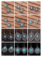 european tibetan style beads achat en gros de-Livraison gratuite des femmes bricolage tibétain argent turquoise boucle d'oreille 12 pièces beaucoup de style mixte, fleur creuse perles européennes Dangle boucle d'oreille GTTQE2