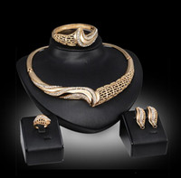 Wholesale Cheap Wholesale Costume Rings - Hot Jewelry Sets For Wedding Women Gold color Choker Necklace Earring Bracelet Ring Fashion Cheap Costume Jewelry Sets