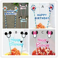 Wholesale Straw Flags - New Arrive Happy birthday flag with paper straw cupcake cake topper birthday cake accessories party supplies