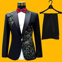 Wholesale Male Sequin Blazer - Plus Size S-4XL Wedding Groom Tuxedos Suit Men Fashion Blue Paillette Embroidered Male Singer Performance Party Prom Blazer Suit Costumes