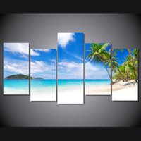 Wholesale Sea Poster Landscape - 5 Pcs Set Framed Printed Seascape summer beach sea shore Painting Canvas Print room decor print poster picture canvas Free shipping ny-4332