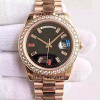 Wholesale Diamond Watch Band Men - very Fashion Auto Wrist watch Men Black Dial Diamond Case Rose Gold Band 4o mm Day Date free shipping HK