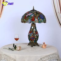 Wholesale vintage stained glass table lamp - FUMAT European Tiffany Flat Living Room Table Lamp LED Creative Vintage Garden Stained Glass Table Lights Art Glass Table Light