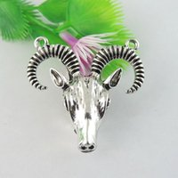 Wholesale Retro Silver Tone - 5X Retro Style Antgiqued Silver Tone Antelope Head Charms Pendant DIY 37*39*11mm jewelry making