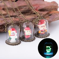Wholesale Covering Chain Necklace Wholesale - 2017 glass cover Christmas snowman Pendant Necklace Women Gypsy Vintage Collar Statement Silver Plated night glowing Necklace Fashion Gift