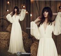 Wholesale Custom Made Jenny Packham - Jenny Packham Bohemia 2016 Wedding Dresses Plunging Pleated Ivory Chiffon Floor Length Long Sleeve Simple Summer Beach Bridal Wedding Gowns