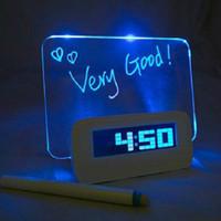 Wholesale Box Alarm Clocks - New Luminous multifunction luminous fluorescent message board USB distributing box alarm clock LED wirtting Fluorescent Message board pen