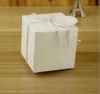 Wholesale White Kraft Paper Bags Wholesale - 7*7*7CM European-Style Wedding Sugar Bag Retro Kraft Paper White DIY Candy Box Carton Packaging Snack Box Wedding Favor Party Supplies