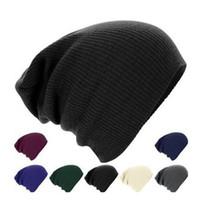 Wholesale Korean Woolen Caps - WHOLESALE!High Quality Solid Color stripe Hats Unisex Ski Knitted Caps WINTER WOOLEN CAPS KOREAN VERSION OF POPULAR FOLDING CAP