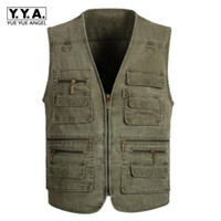 Wholesale Mens Multi Pocket Vest - Male Denim Vests Mens Waistcoats Mens Outdoors Cotton Multi Pocket Sleevless Jean Jacket Men Jeans Masculino 7XL