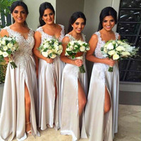 2018 Fancy New Bridesmaid Dresses Illusion Neck Grey Silver Long Floor Length для свадебных кружевных аппликаций Side Split Prom Evening Gowns