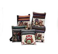 Wholesale Cartoon Owl Handbag - Cartoon Owl Print Messenger Bags Canvas Female Shoulder Bags Double Zipper Women Mini Flap Shoulder Handbags Messenger Purse KKA2250