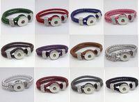 Wholesale Silver Bracelets Wholesale China - Mixed sale real leather bracelet fashion DIY button leather woven ginune snap button bracelet 18mm snap giner button
