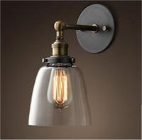 Wholesale Diy Coffee Lamp - Loft Vintage led wall lighting Industrial Edison Glass Shade Loft Coffee Bar Wall Sconce Iron DIY Wall Light Warehouse Lamp e27