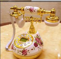 keramische telefone großhandel-Antikes Telefon des keramischen Retro- Telefonantike-Sets reizende Hochzeit örtlich festgelegtes klassisches Telefonantike Holz Landline