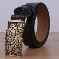Wholesale Carved Leather Belts - Wholesale- Hollow Designers Luxury Flower Female Strap Brand Genuine Leather Floral Carved Dress Belts for Women Cowskin for Jeans Black