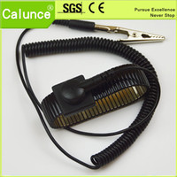 Wholesale Esd Straps - Black Metal Anti-static Cleanroom ESD Wrist Strap With Adjustable Grounding Strap