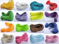 Wholesale Braided 5mm - Free Ship 100Meters 5mm Flat Faux Braided Leather Cord, 5mm DIY Cord Supplies, Bracelet & Necklace Cord