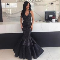 Wholesale Layered Evening Gowns Plus Size - Sparkling Halter Mermaid Evening Gowns Sequins Lace Floor Length Backless Prom Dress Sleeveless Layered Satin Party Dress Vestidos Festa