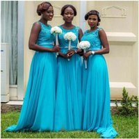 Wholesale Dresses For Bride Maids - 2016 New Elegant Bridesmaid Dresses Blue Long Chiffon lace Appliques Bodice Cheap Dress For Bride Maids
