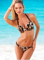 Wholesale Leopard Women S Bikini Swimwear - NEW Fashion Steel prop gather Women Bikini Swimwear Sexy women's Swimwear 8 colours choose Leopard