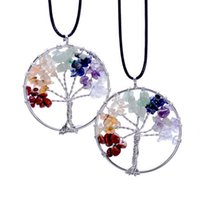 Wholesale Chip Necklaces Wholesale - Wholesale Price Rainbow Chakra Amethyst Tree of Life Quartz Chips Pendant Necklaces for Women Wisdom Tree Natural Stone European Necklace