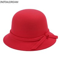 Wholesale Royal Hats For Women - Wholesale- Spring Winter Fashion hat Brim Bowknot solid Felt hats For Women Warm high quality Retro ladies Hats colorful royal Lady Hats
