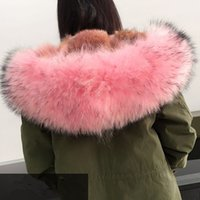 Wholesale Luxurious Lavish Pink fur army coat MR MRS itlay soft coyote fur lined parka Highest edition MR MRS FURS wolf fur Long jackets