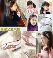 Wholesale Hair Designs For Girls - Kids Headbands Crown bowknot 4 designs plastic with short combs Headband for girls children hair accessories hair band