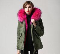 Wholesale Ladies Pink Wool Coats - Mrs furs Green jacket women snow winter coats Ladies mini Parkas with Removable 100% Raccoon fur collar