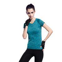 Wholesale Gym Shorts Clothing - Wholesale-Women Yoga Shirts Fitness Gym Exercise Training Run Workout Sports Short Sleeve Elastic T-Shirt Tops Sportswear Clothing