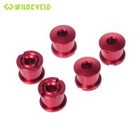 Wholesale road crankset - New CNC Single Chainring Bolts Screws For MTB Road Bike Fixing Bolts Crankset 5pcs Bicycle Accessories Black Red Blue Green